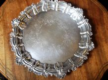 "VINTAGE ORNATE CHASED A1 SILVER ON COPPER TRAY ON 3 SCROLL FEET 11"" RBC"